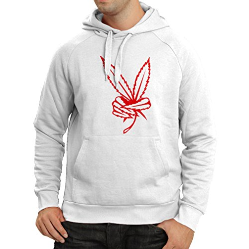 N4038H Hoodie Peace sign gift Bianco Red