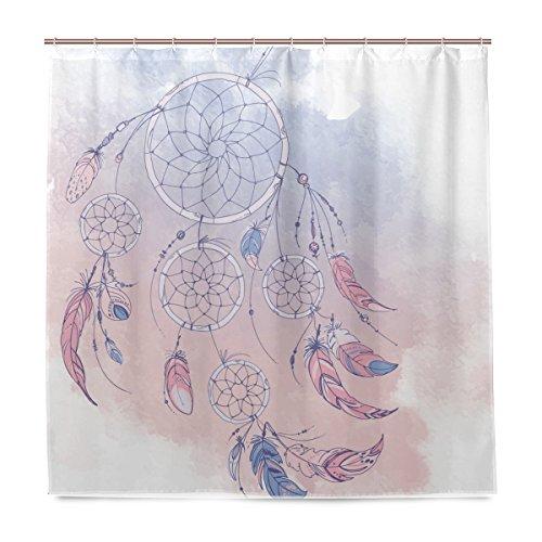 FFY Go Cortinas de ducha atrapasueños, impermeables, a prueba de moho, cortina de baño de poliéster lavable con ganchos duraderos para accesorios de baño, decoración del hogar, 182,88 x 182,88 cm