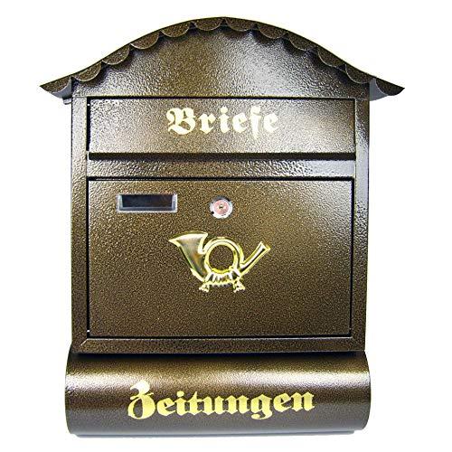 Briefkasten Postkasten Wandbriefkasten Zeitungsrolle \'Londres\' 47x37x12cm braun mit Zeitungsbox Briefkastenergänzung