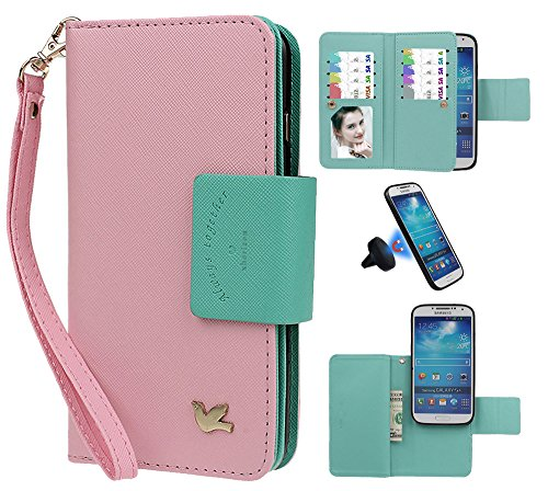 Hülle für Samsung s4, xhorizon FX Prämie Leder Folio Case [Brieftasche][Magnetisch abnehmbar] Uhrarmband Geldbeutel Flip Vogel Tasche Hülle für Samsung Galaxy S4 i9500 mit einer Auto Einfassungs Halte Pink mit Schwarz Auto Einfassung Halter
