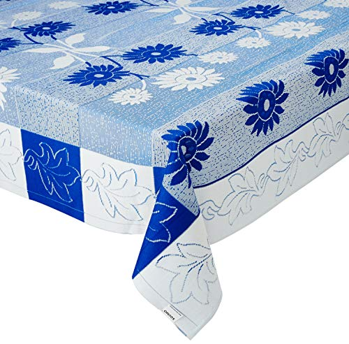 Amazon Brand - Solimo Dining Table Cover, Flower, Blue