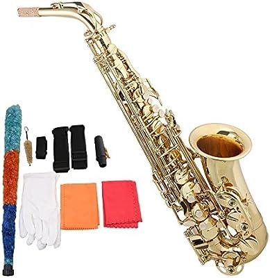 yibuy Trompeta de diámetro 120mm alto Eb Chapado en oro clave para con funda de saxofón Reed & accesorios para boquilla de latón