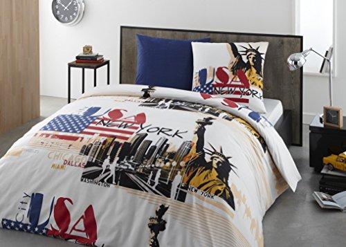 Parure Housse de Couette Flanelle 100% Coton - City U.S.A. 200x200 cm + 2 taies d'oreiller 65x65 cm