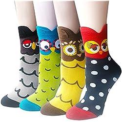 Pack de 4 calcetines de mujer Cute Famous Painting Art Crew, calcetines de algod¨®n divertido y fresco para mujeres
