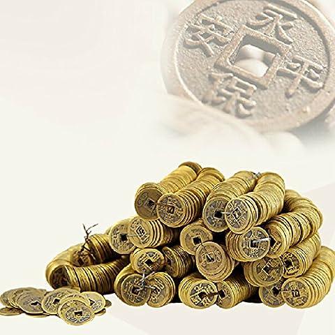Bluelover 100 piezas de antiguas monedas de la dinastía Qing de China cobre suerte