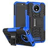 Bracevor Shockproof Motorola Moto C Plus Hybrid Kickstand Back Case Defender Cover - Blue