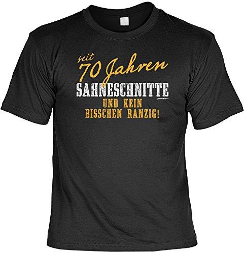 Cooles T-Shirt zum 70. Geburtstag - seit 70 Jahren Sahneschnitte und kein Bisschen Ranzig! Geschenk zum 70. Geburtstag 70 Jahre Schwarz