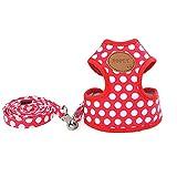 zoonpark® Pet Dog Puppy soft Weste Polka Dot Walking Geschirr verstellbar für kleine medium