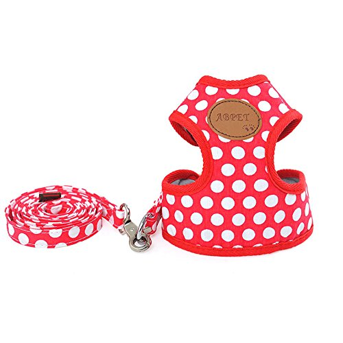zoonpark® Pet Dog Puppy soft Weste Polka Dot Walking Geschirr verstellbar für kleine medium -