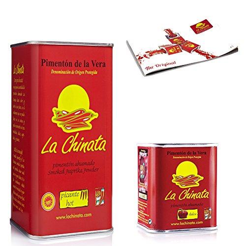 Pimentón de La Vera Ahumado pack La Chinata lata Picante 750g y lata dulce 70g.