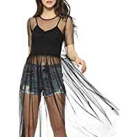 AmazingDays Damen Kurzarm Sommerkleid Kleid Transparent Kleider Elegant  Shirtkleid Minikleid Club Freizeitkleid Locker f91bbe9c07