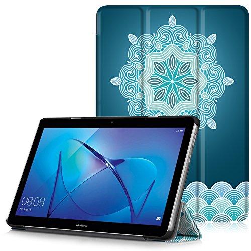 0 Hülle - Ultra Dünn und Leicht PU Leder Schutzhülle mit Standfunktion für HUAWEI MediaPad T3 24,3 cm (9,6 Zoll) Tablet-PC, Schneeflocke ()
