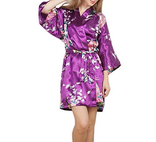 Luck Femme Pyjama Kimono Robe de Chambre 3/4 Manche avoir Ceinture en Polyester Violet