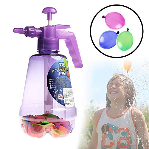 Monsterzeug Wasserbombenfüller Pumpe mit 100 Wasserballons - lila, Kinderspielzeug, Wasserbomben, Wasserschlacht, Füllstation, Geschenke für Kinder, Geschenke für Teenager