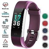 QKa Fitness Tracker mit wasserdichtem IP68, Farbdisplay Activity Tracker Smartwatch mit Pulsmesser Smart Armband für Kinder Frauen Männer Kompatibel für IOS Android,Lila