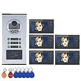 "ZY Sistema videocitofonico Touch Button 7""5 Appartamento/Home Video citofono citofono 6 Pulsanti 5 Display Waterproof"