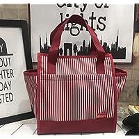 Preisvergleich für Yudanwin Leinwand-Lunch-Tasche Koreanische Leinwand Wasserdichte Tragbare Lunchbox Tasche (rot dünne Streifen)