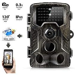 """SunTek 3G 2G MMS gsm Cámara de Caza 16MP 1080P HD Trail Cámara con 42 pz IR LED para Visión Nocturna, IP65 Resistente a Agua con 0.3s de Tiempo de Activación, 2.0"""" LCD Pantalla.800G"""