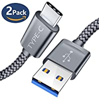 USB C Cable, JSAUX (6.6FT/2m 2-Pack ) USB 3.0 A to USB Type C Fast Charger Charging Cable Nylon Braided for Samsung Galaxy S9 S8 Plus A3 2017 A5 2017 A8 2018 Note 8, Sony Xperia XZ, Google Pixel, Huawei P10 P9, HTC 10/U11, LG G6 V30, OnePlus 2 3 3t 5, Nintendo Switch and More(Grey)