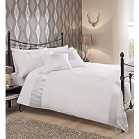 Juego de funda nórdica y funda de almohada de algodón, plisada, diseño de satén, mezcla de algodón, blanco, funda de edredón doble (dormitorio masculino)