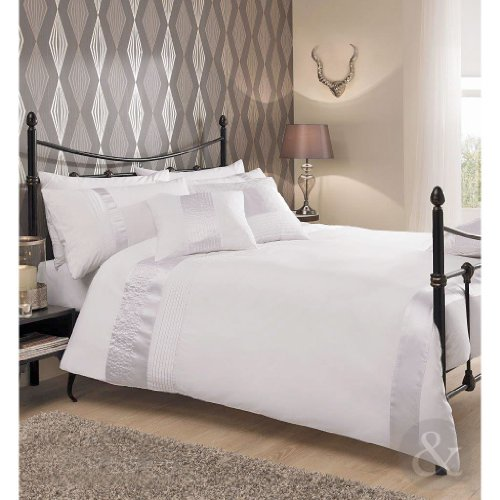 Just contempo completo copripiumone per letto matrimoniale in raso pieghettato lenzuola in soffice cotone percalle cotone bianco copripiumino matrimoniale (da ragazzo)