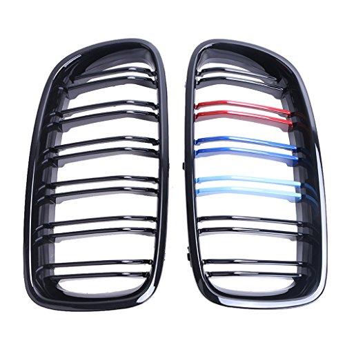 Preisvergleich Produktbild WANOOS Schwarz Glänzend Twin Line vorne mit bunten Streifen Nieren für BMW F30 F31 M3 328i 335i 320i 2012-2015
