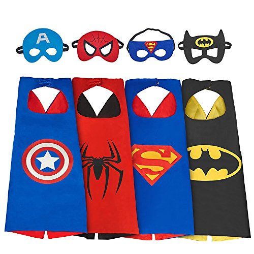 DEDY My-My Toys für 3-10 Jahre alte Jungen, Superheld Capes für Kinder 3-10 Jahre alte Jungen Geschenke Jungen Cartoon verkleiden Sich Kostüme Partei liefert Jungen Alter 3-12 4 Pack ()