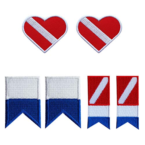 Baoblaze Juego de 6 Emblemas Diseño de Bandera Alfa de 3 Estilos, Recuerdo de Buceo, Regalo para Buceadores Niños