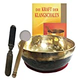 Klangschale Bengali gold-schwarz 4-teiliges Klangmassage-SET mit BUCH   Therapie-Qualität: KINDER-HARMONIE KLANGSCHALE   Ca. 400-500g ca. 12-13 cm Ø #70163   Mit Kissen, Holz-Leder-Klöppel.