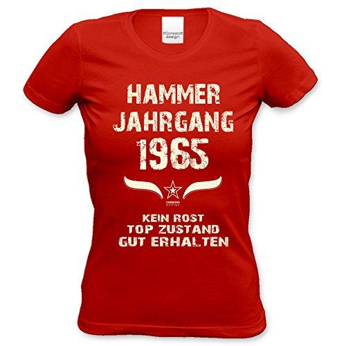 Damen-Kurzarm-T-Shirt Girlieshirt Hammer Jahrgang 1965 Geschenk-Idee zum 52. Geburtstag Geburtstagsgeschenk Farbe: schwarz und rot rot-01