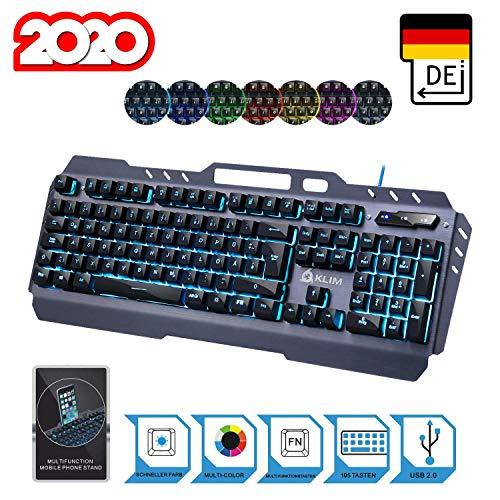 KLIM Lightning - NEU 2020 - Hybrid Halbmechanische Tastatur QWERTZ DEUTSCH + Sieben Metall