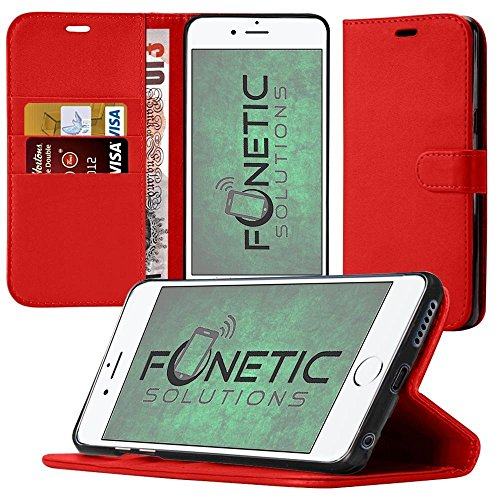 Fonetic Solutions Samsung Galaxy A8/sm-a530'sm-a530 Samsung Galaxy A82018/Samsung Galaxy A52018Schutzhülle Hülle mit Kartenhalter und LCD-Displayschutzfolie rot PU Leather Wallet Case (Red)