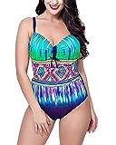 Damen Casual Badeanzug Große Größen Bikini Für Große Oberweite Stahlstütze Marine 48