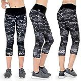 Formbelt® Leggings Sportivi da Donna a Tre Quarti con Marsupio per Cellulare Pantaloni da Corsa Fitness Sport Fuseaux Colorati (Marmo M)