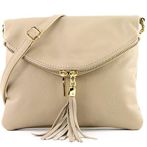 borsa di pelle ital. pochette pochette borsa tracolla Ragazze T139 piccola pelletteria T139A Beige