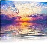 Einzigartiger Sonnenaufgang im Meer Pinsel Effekt, Format: 120x80 auf Leinwand, XXL riesige Bilder fertig gerahmt mit Keilrahmen, Kunstdruck auf Wandbild mit Rahmen, günstiger als Gemälde oder Ölbild, kein Poster oder Plakat