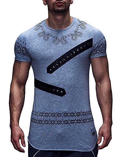 Männer Herren T-Shirt Oberteil Freizeit Slim Nieten Schwarz Weiß Grau Grau