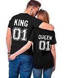King Queen Couple Shirt Shirt 100% Coton Tees Shirts pour Roi Reine Imprimé 01 Manches Courtes Anniversaire Cadeau 2 Pièces Été(BK-King-M+BK-Queen-L)