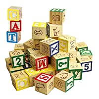 MTS Wooden ABC 123 Building Blocks Kids Alphabet Letters Numbers Bricks Toy Set