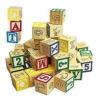 MTS Wooden ABC 123 Building Blocks Kids Alphabet Letters Numbers Bricks Toy Set