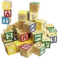 Wooden ABC 123 Building Blocks Kids Alphabet Letters Numbers Bricks Toy Set