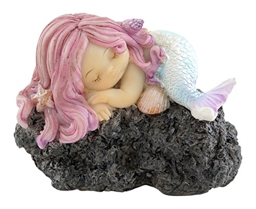 Top Collection Miniatur-Fairy Garden und Terrarium Schlafsack Little Mermaid auf Rock Statue