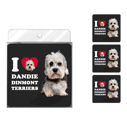 Tree-Free Greetings nc39041I Heart Dandie Dinmont Terrier 4er Pack Künstlerische Untersetzer Set -
