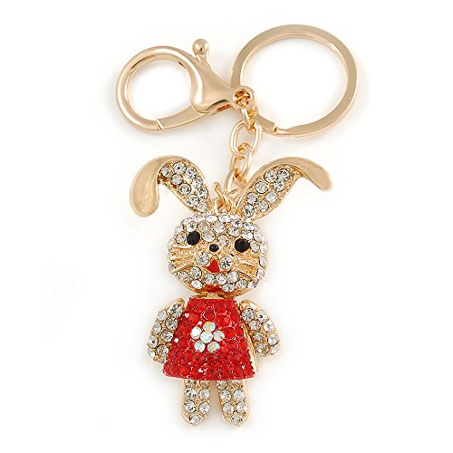 ar/rot-Happy Easter Bunny Keyring/Tasche in gold -, L 9 cm, Metall ()
