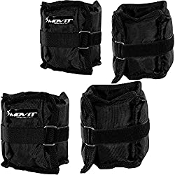 Movit 4er set of weight cuffs, 2X 500g and 2X 1000g barrel weights for ankles and wrists in 3 color variants black