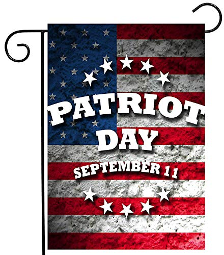 CHKWYN American Flag Patriot Day Patriotic 911 Garden Yard Flag Double Sided, Polyester USA September 11 Welcome House Flag Banners for Patio Lawn Outdoor Home Decor Size: 28-inches W X 40-inches H Iowa State Flower