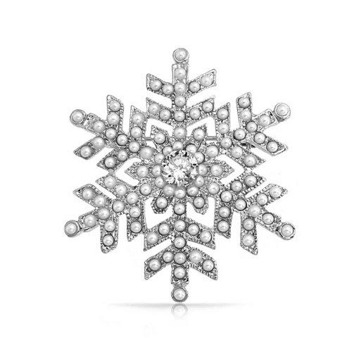 Bling Jewelry Weihnachten Weiß Simulierten Perle Crystal Snowflake Brosche Pin Für Damen Rhodiniert