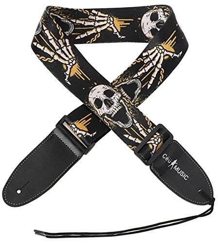 Skulls schwarz Gitarrengurt mit Leder Enden Schultergurt für Akustik und E-Bass Gitarre, Best Geschenk für Ihre Freund