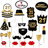 Party Propz 21Th Happy Birthday Photo Booth Props 20 Pcs