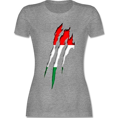 EM 2016 - Frankreich - Ungarn Krallenspuren - tailliertes Premium T-Shirt mit Rundhalsausschnitt für Damen Grau Meliert